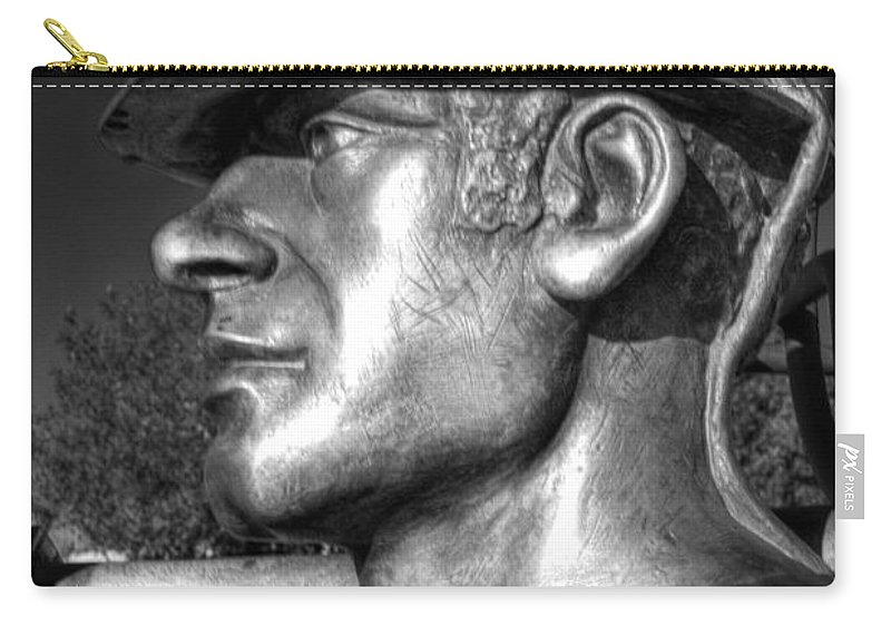 Miner Carry-all Pouch featuring the photograph Miner Statue Monochrome by Steve Purnell
