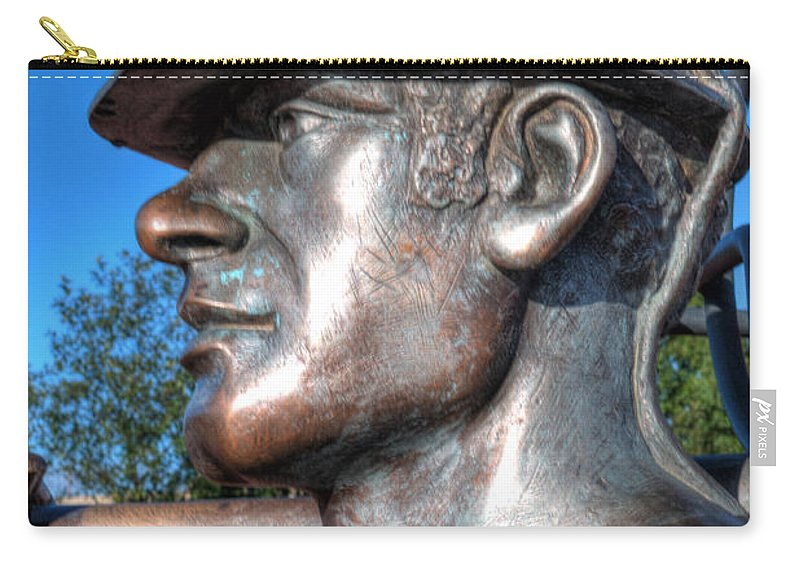 Miner Carry-all Pouch featuring the photograph Miner Statue by Steve Purnell