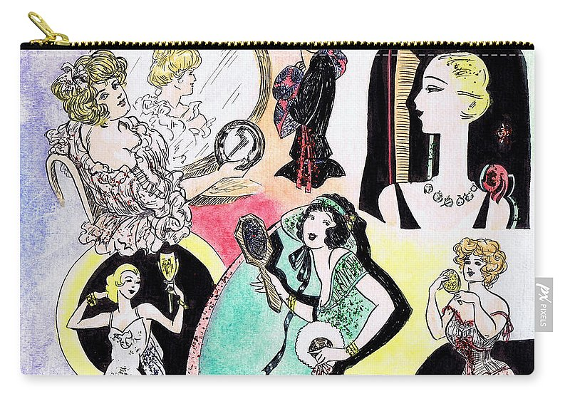 Women Carry-all Pouch featuring the drawing Mirror Ladies by Mel Thompson