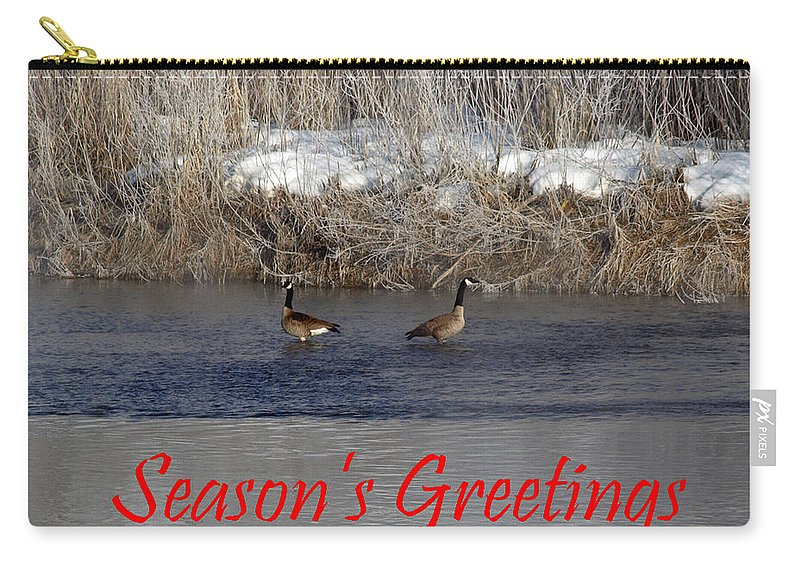Christmas Carry-all Pouch featuring the photograph Mirrored Geese Season Greetings by DeeLon Merritt