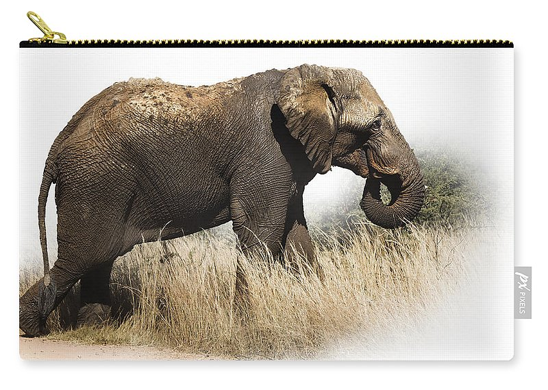 Elephant Carry-all Pouch featuring the photograph Missing A Tooth And Still Smiling by Ronel Broderick