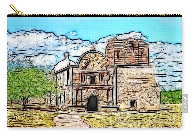 Fine Art Photography Carry-all Pouch featuring the photograph Mission At Tumacacori Fractal by Donna Greene