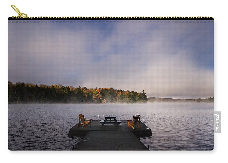 Sunrise Carry-all Pouch featuring the photograph Misty Sunrise by Cale Best