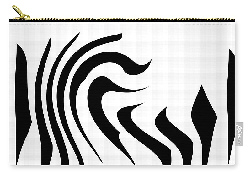 Zebra Form Forms Geometric Texture Black White Abstract Art Modern Digital Painting Carry-all Pouch featuring the digital art Modern Zebra by Steve K