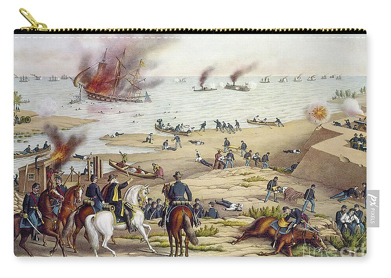 1862 Carry-all Pouch featuring the photograph Monitor Vs Merrimack, 1862 by Granger