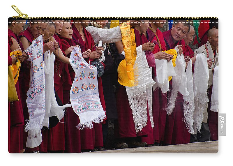 Monks Carry-all Pouch featuring the photograph Monks Wait For The Dalai Lama by Don Schwartz