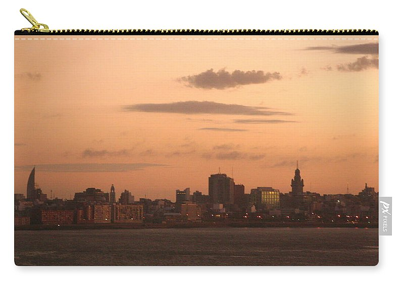 Montevideo Carry-all Pouch featuring the photograph Montevideo Skyline At Sunrise by Laurel Talabere