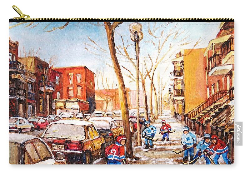 Montreal Street Scene With Boys Playing Hockey Carry-all Pouch featuring the painting Montreal Street With Six Boys Playing Hockey by Carole Spandau