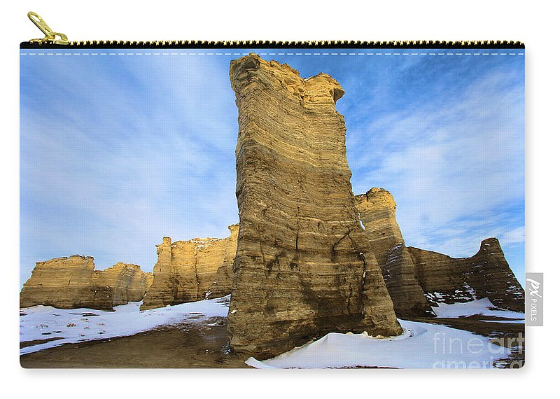 Monument Rocks Carry-all Pouch featuring the photograph Monument Rocks by Adam Jewell