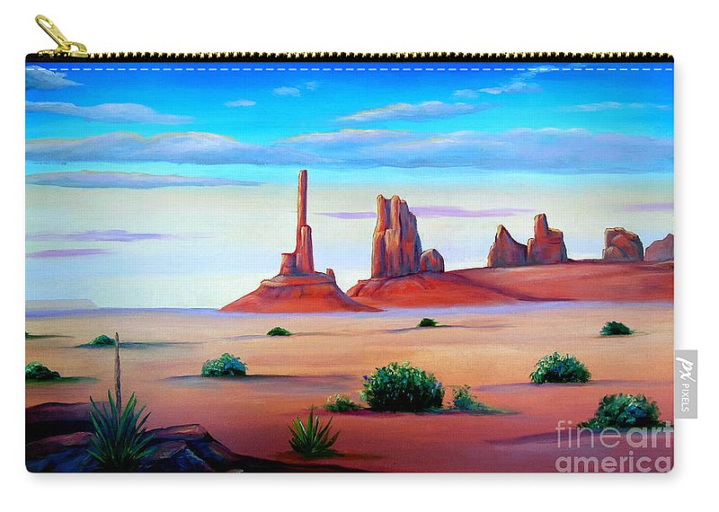 Monument Valley Carry-all Pouch featuring the painting Monument Valley by Don Monahan