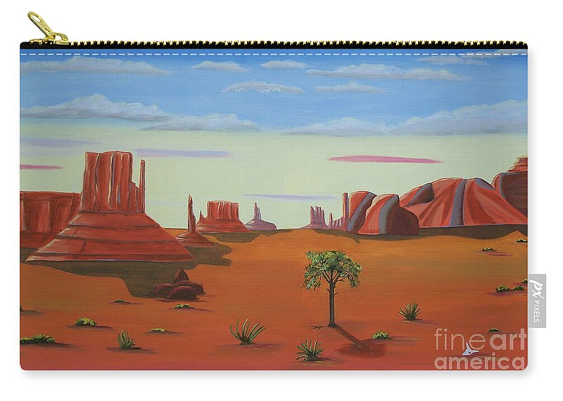 Monument Valley Lone Tree Carry-all Pouch featuring the painting Monument Valley Lone Tree by Don Monahan