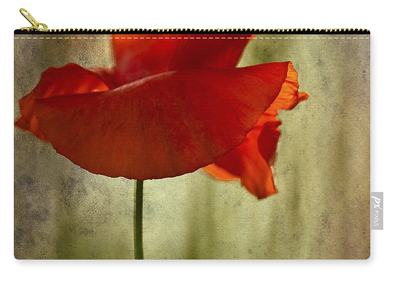 Poppy Carry-all Pouch featuring the photograph Moody Poppy. by Clare Bambers - Bambers Images