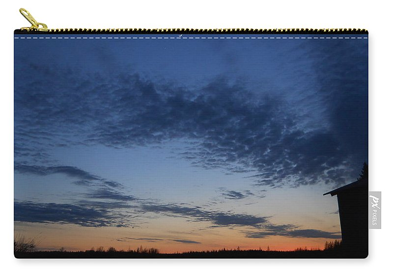 Moon Carry-all Pouch featuring the photograph Moon And Clouds At Dusk by Kent Lorentzen
