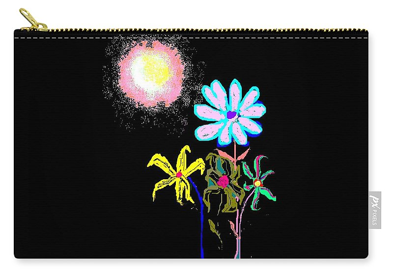 Moon And Garden Of Flowers Carry-all Pouch featuring the digital art Moon Garden by Enriquemontana Garcia