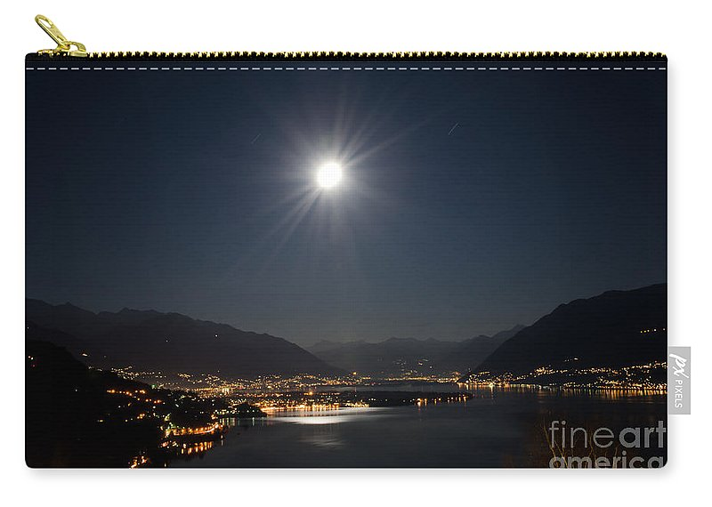 Moon Carry-all Pouch featuring the photograph Moon Light Over An Alpine Lake by Mats Silvan
