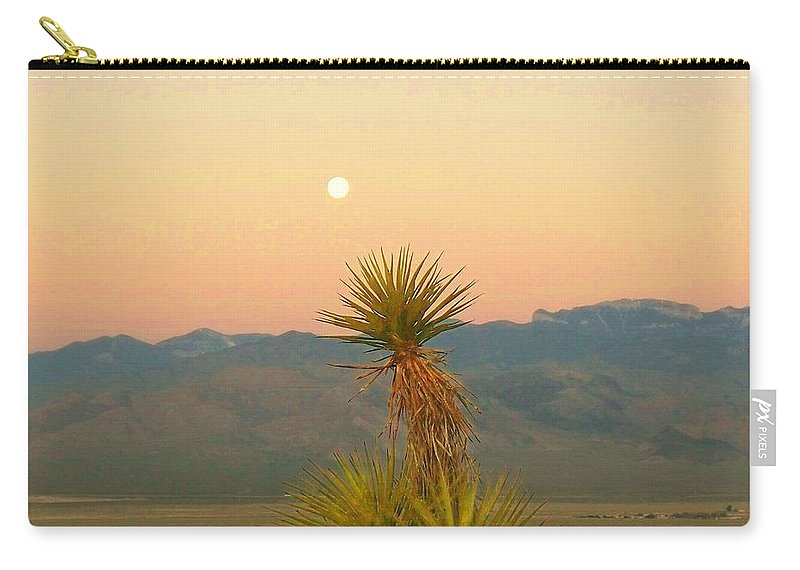 Yucca Carry-all Pouch featuring the photograph Moon Sets As Sun Rises by Jonathan Barnes