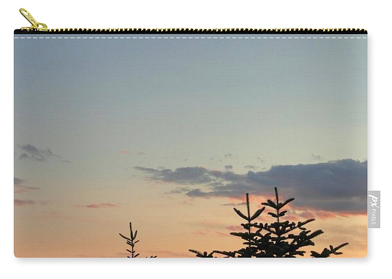 Sunset Carry-all Pouch featuring the photograph Moon Watching The Sunset In Acadia by Meandering Photography