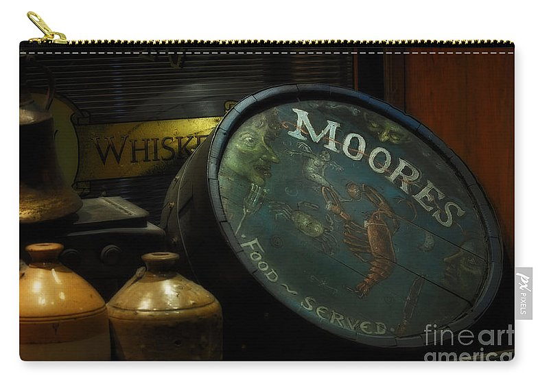 Moore's Tavern After Closing Carry-all Pouch featuring the photograph Moore's Tavern After Closing by Mary Machare