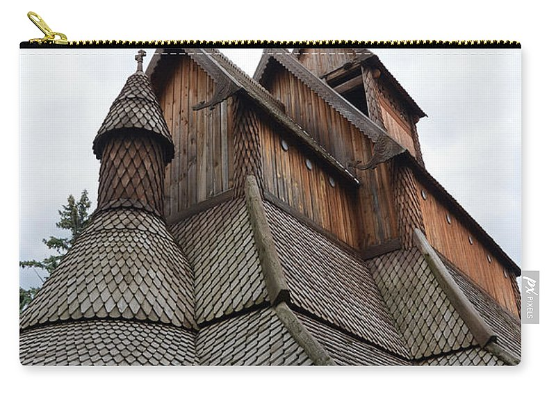 Moorhead Stave Church Carry-all Pouch featuring the photograph Moorhead Stave Church 8 by Cassie Marie Photography