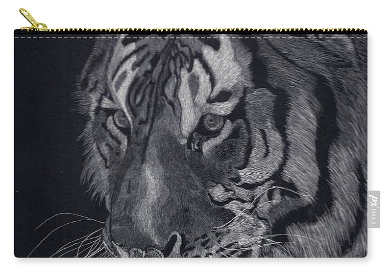 Tiger Carry-all Pouch featuring the drawing Moquito El Tigre by Yenni Harrison