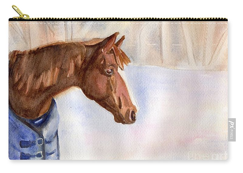 Horse Chestnut Winter Morgan Equine Farm Field Landscape Snow Brown White Blue Country Carry-all Pouch featuring the painting Morgan by Maria's Watercolor