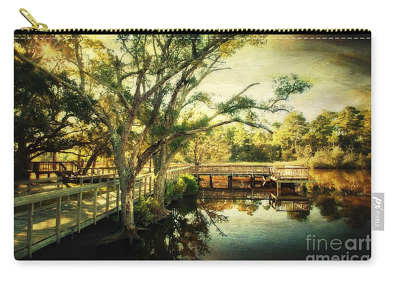 Ocean Springs Carry-all Pouch featuring the photograph Morning At The Harbor Park by Joan McCool