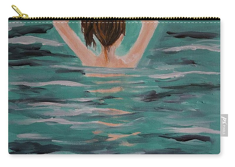 Purchase Artists Originals At Carry-all Pouch featuring the painting Morning Dip by Leslie Allen