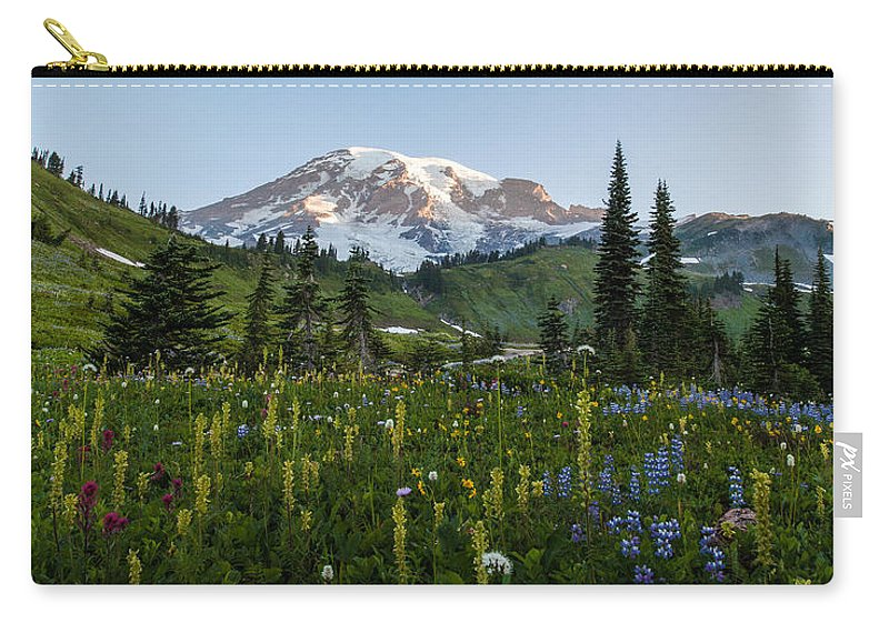 Rainier Carry-all Pouch featuring the photograph Morning Meadow by Mike Reid