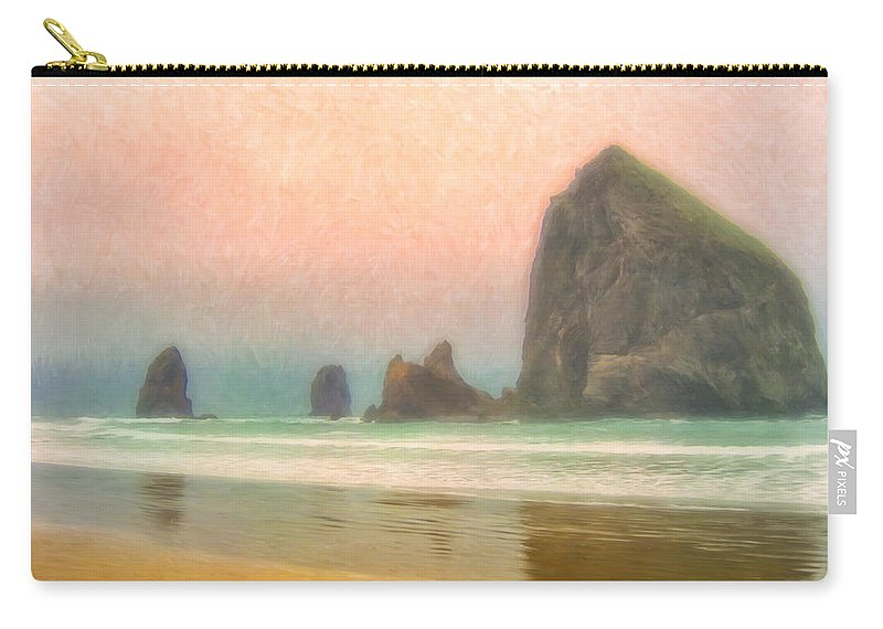 Morning Carry-all Pouch featuring the painting Morning Mist At Haystack Rock by Dominic Piperata
