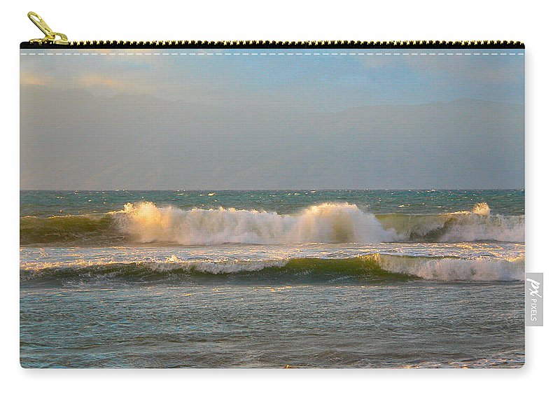 Maui Carry-all Pouch featuring the photograph Morning Waves by Lynn Bauer