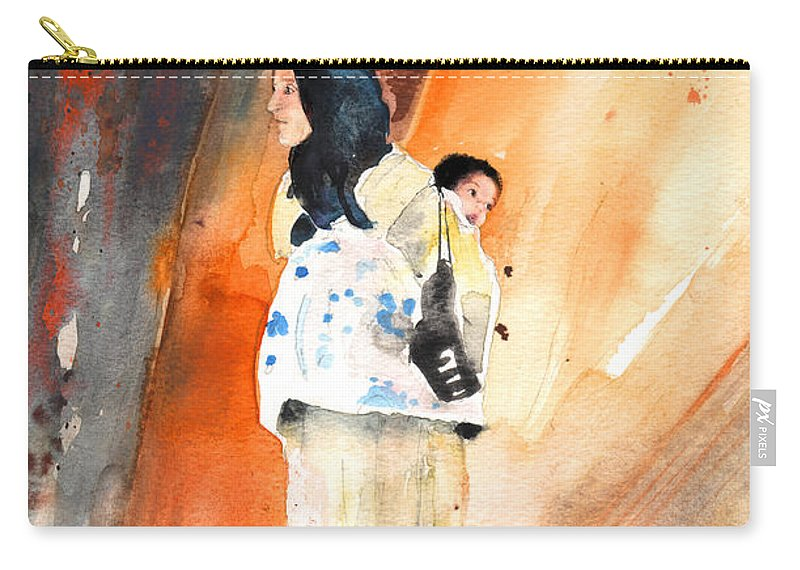 Travel Carry-all Pouch featuring the painting Moroccan Woman Carrying Baby by Miki De Goodaboom
