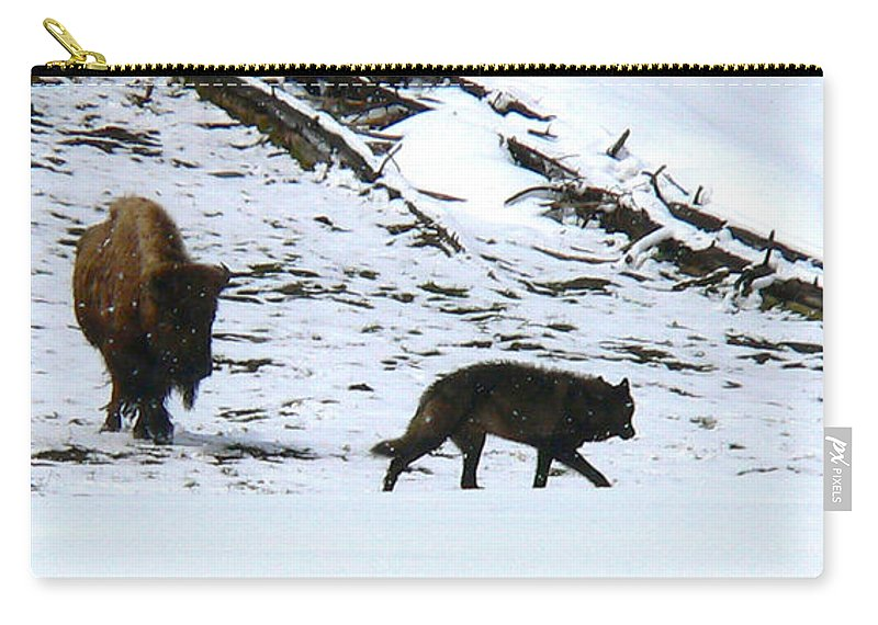 Yellowstone National Park Carry-all Pouch featuring the photograph Mortal Enemies by Eric Tressler