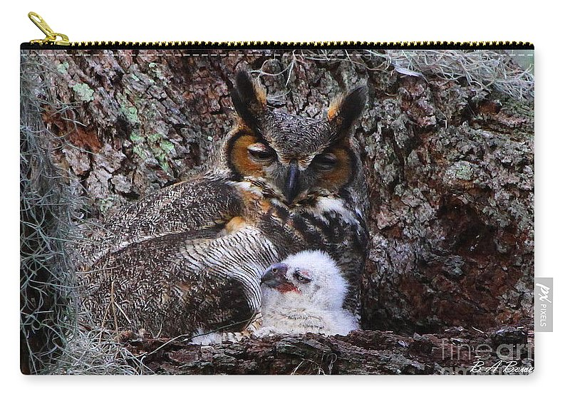 Great Horned Owl Carry-all Pouch featuring the photograph Mother And Baby Owl by Barbara Bowen