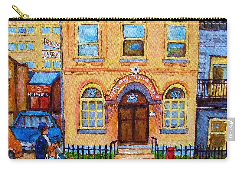 Cityscape Carry-all Pouch featuring the painting Mother With Baby Carriage by Carole Spandau