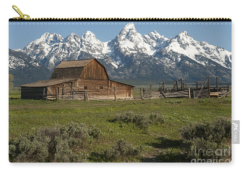 Grand Teton Carry-all Pouch featuring the photograph Moulton Barn - Grand Tetons by Sandra Bronstein