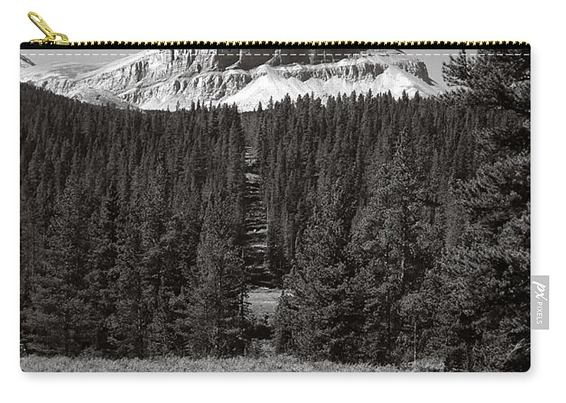 Alberta Carry-all Pouch featuring the photograph Mountain Peak Above The Tree Line by Roderick Bley