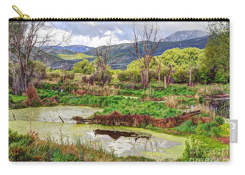 Hdr Carry-all Pouch featuring the photograph Mountain Valley Marsh - Hdr by Gary Whitton