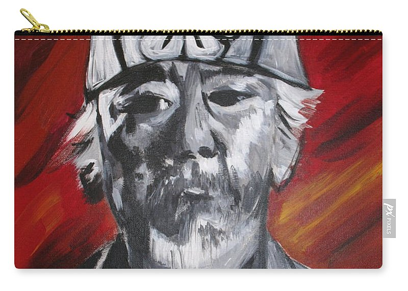 Portrait Carry-all Pouch featuring the painting Mr. Miyagi by Kate Fortin