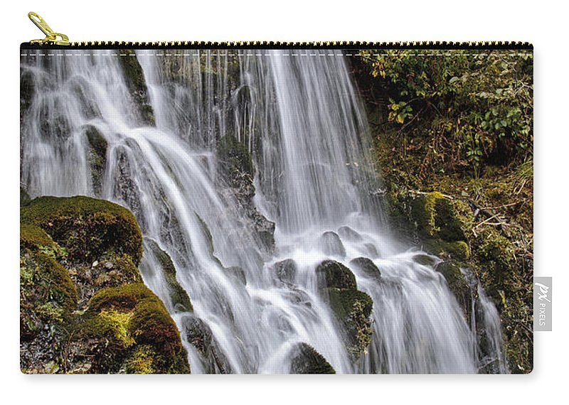 Mt Hood Cascade Carry-all Pouch featuring the photograph Mt Hood Cascade by Wes and Dotty Weber