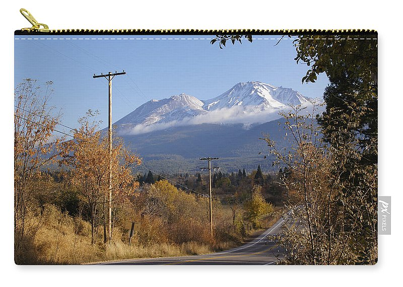 Road Carry-all Pouch featuring the photograph Mt Shasta Autumn by Mick Anderson