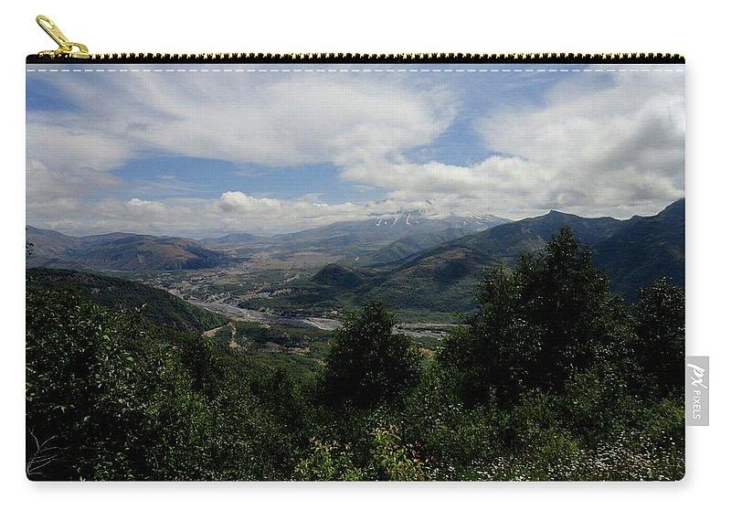 Photos Of Mt St Helens Photographs Photographs Carry-all Pouch featuring the digital art Mt St Helens Lookout by Christy Leigh