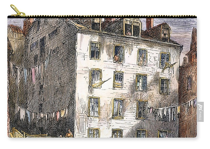 1873 Carry-all Pouch featuring the photograph Mulberry Street, Nyc, 1873 by Granger