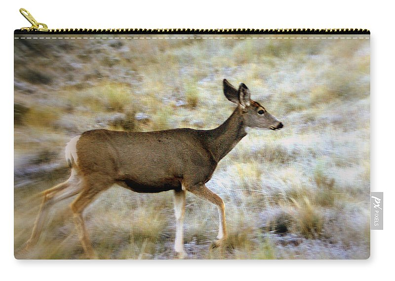 Deer Carry-all Pouch featuring the photograph Mule Deer On The Move by Marty Koch