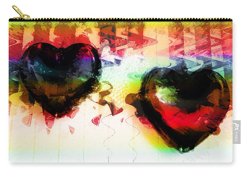 Hearts Carry-all Pouch featuring the digital art Multi Colored Hearts by Linda Sannuti