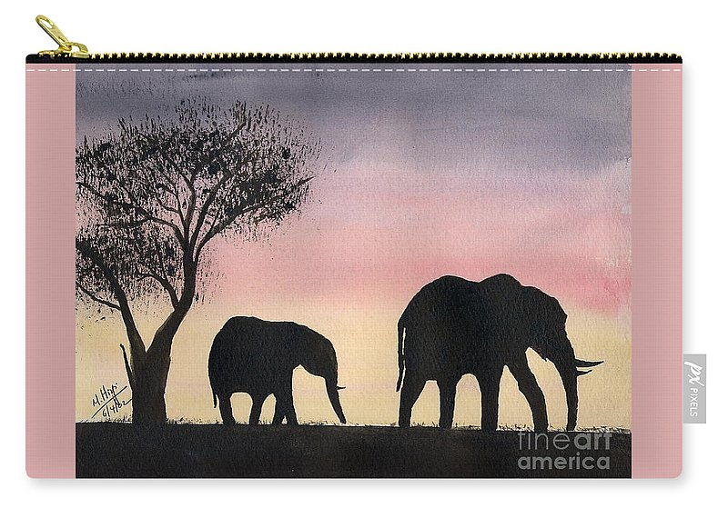 Elephants Carry-all Pouch featuring the painting Mum And Baby by Mohamed Hirji