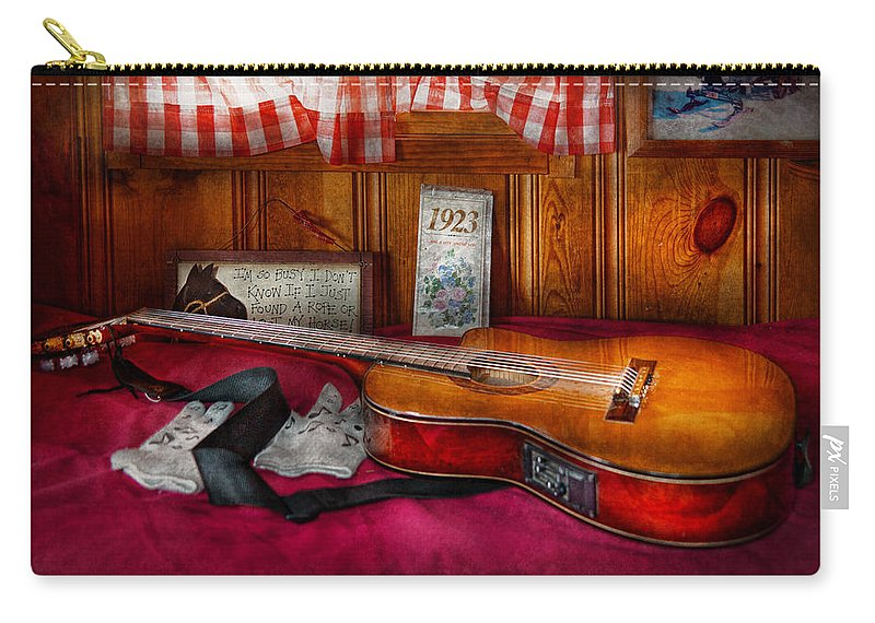 Guitar Carry-all Pouch featuring the photograph Music - Guitar - That Old Country Feel by Mike Savad
