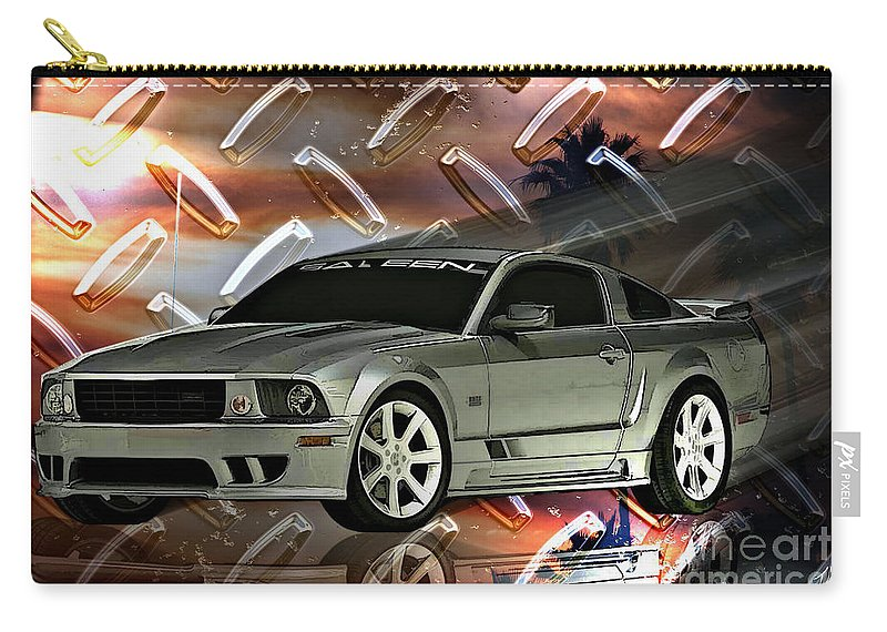 Mustang Carry-all Pouch featuring the digital art Mustang Saleen by Tommy Anderson