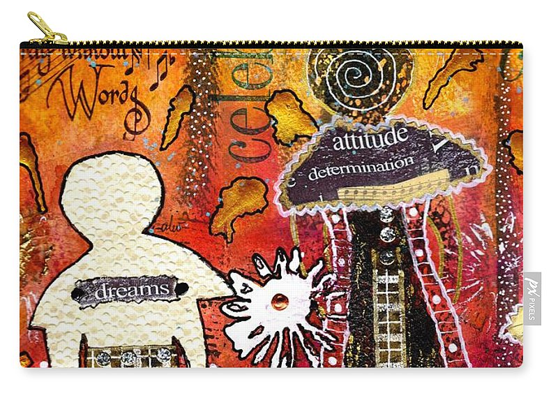 Acrylic Carry-all Pouch featuring the mixed media My Angelic Sistah And I Are Free To Dream by Angela L Walker