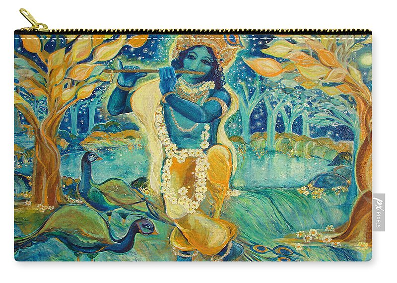 Krishna Carry-all Pouch featuring the painting My Krishna Is Blue by Ashleigh Dyan Bayer