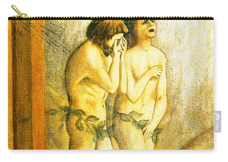 Masaccio Carry-all Pouch featuring the painting My Masaccio Expulsion Of Adam And Eve by Jerome Stumphauzer